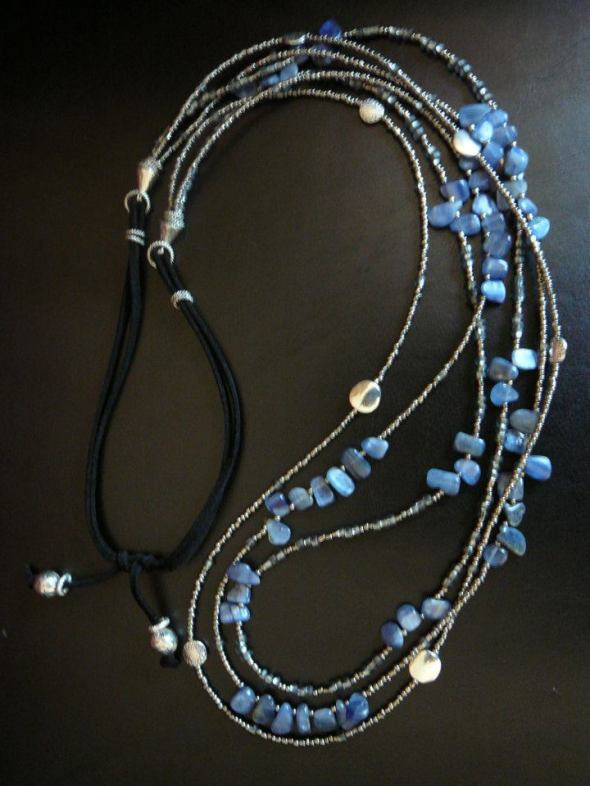 Blue kyanite multi-strand necklace
