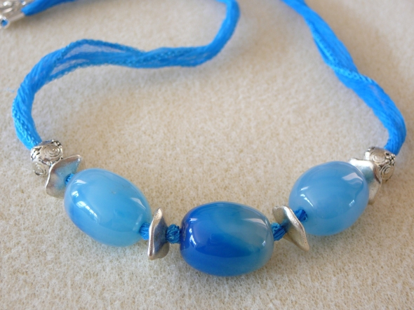 Mar23 Blue glass beads silk boho 20in $35