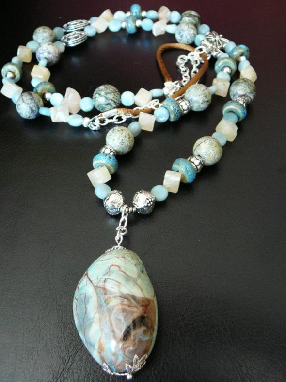 Pale green chrysacolla pendant with ceramic beads, yellow aventurine, amazonite, jasper and silver
