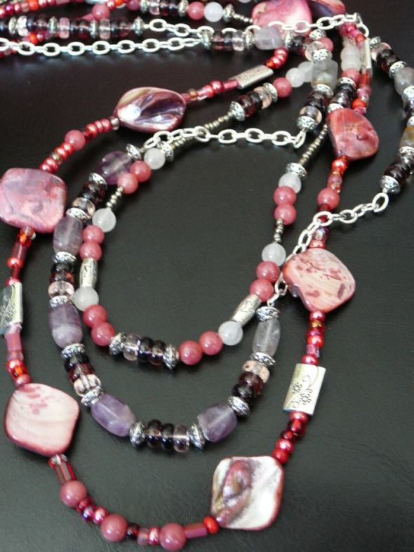 Triple strand with amethyst shell, pink jade, rose quartz, amethyst, silver