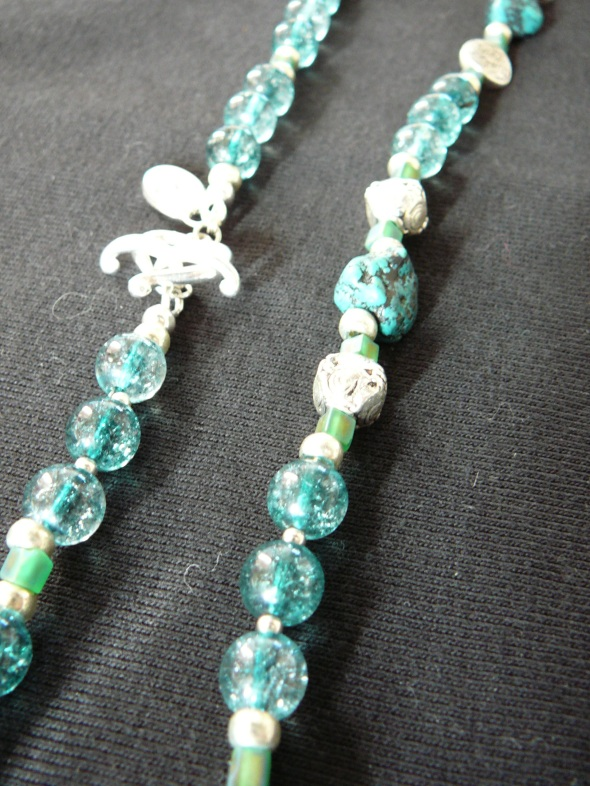 W - turquoise and quartz