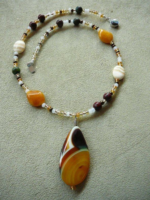 Yellow agate pendant, candy jade, calcite, jasper, chryasacoll