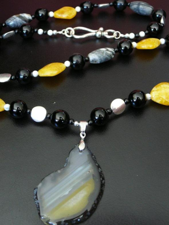 Yellow and black agate pendant with onyx, candy jade, jasper and silver