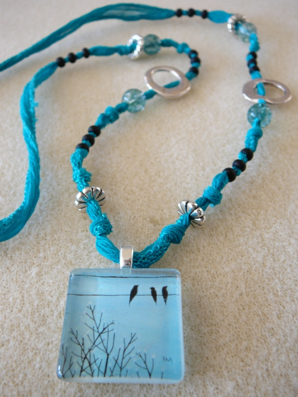 Birds on a Wire necklace  $45
